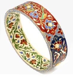 Amrita Singh: Zafar Bangle. Brass bangle with .75 uncut diamonds, chanpleve enameling inside & outside.