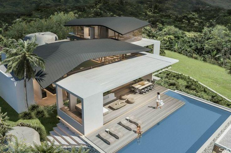 ... extérieur dune maison moderne avec terrasse en bois et piscine