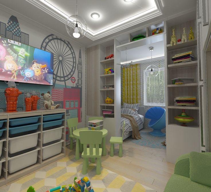Детская-01. Телевизор на стене в детской комнате. Зелёная детская мебель. Белый потолок со светодиодной подсветкой. Ящики для игрушек. Роспись на стене.