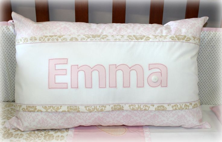 Personalized Name Scatter for baby Emma in old gold, blush pink & white. Design by: Tula-tu Baby Linen (South Africa).