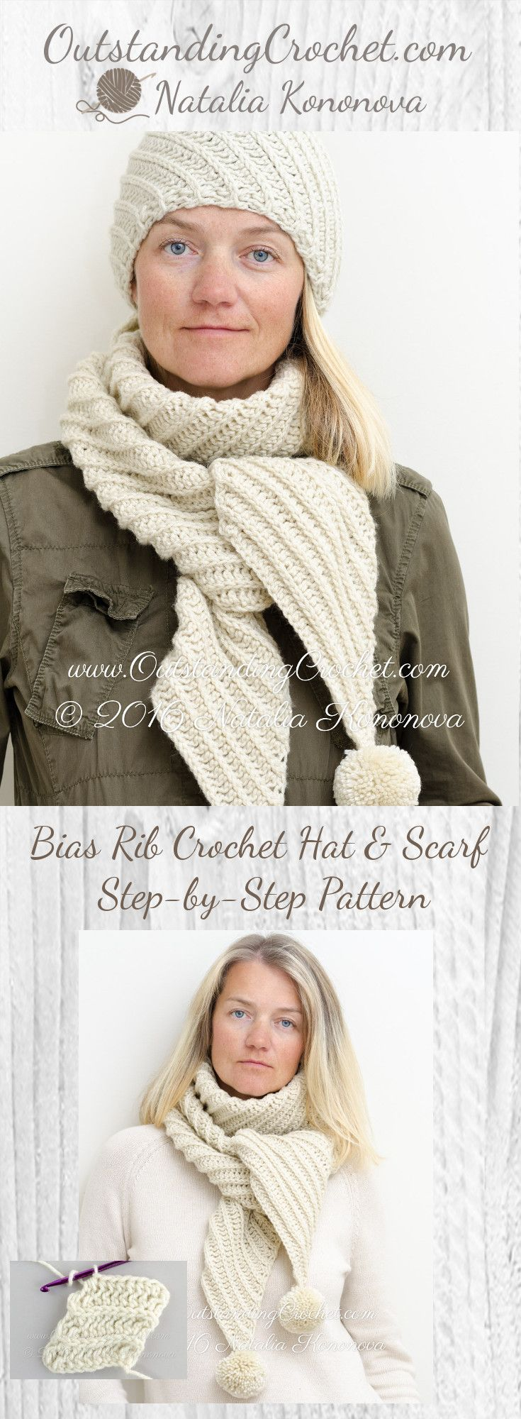 Bias Rib Stitch Crochet Hat and Scarf Step-by-Step Crochet Pattern at www.OutstandingCrochet.com