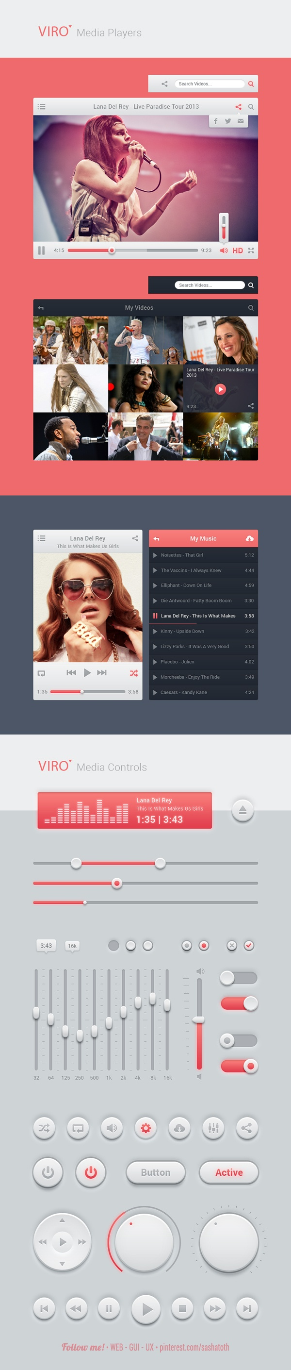 "FREE PSD *** Viro Media Bundle *** ""Viro Media is a user interface pack with user-friendly elements. You can find video players, buttons, sliders, switches, checks, all build with vector elements for easy editing and resizing."
