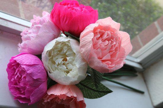 6 Peonies - Crepe paper peonies - wedding peonies- crepe paper flowers -wedding bouquet - paper flower- bridal bouquet- wedding decoration