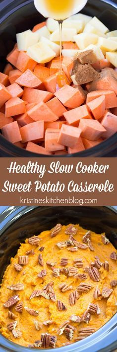 Save oven space with this Healthy Slow Cooker Sweet Potato Casserole! A secret ingredient naturally sweetens this crock pot side dish!