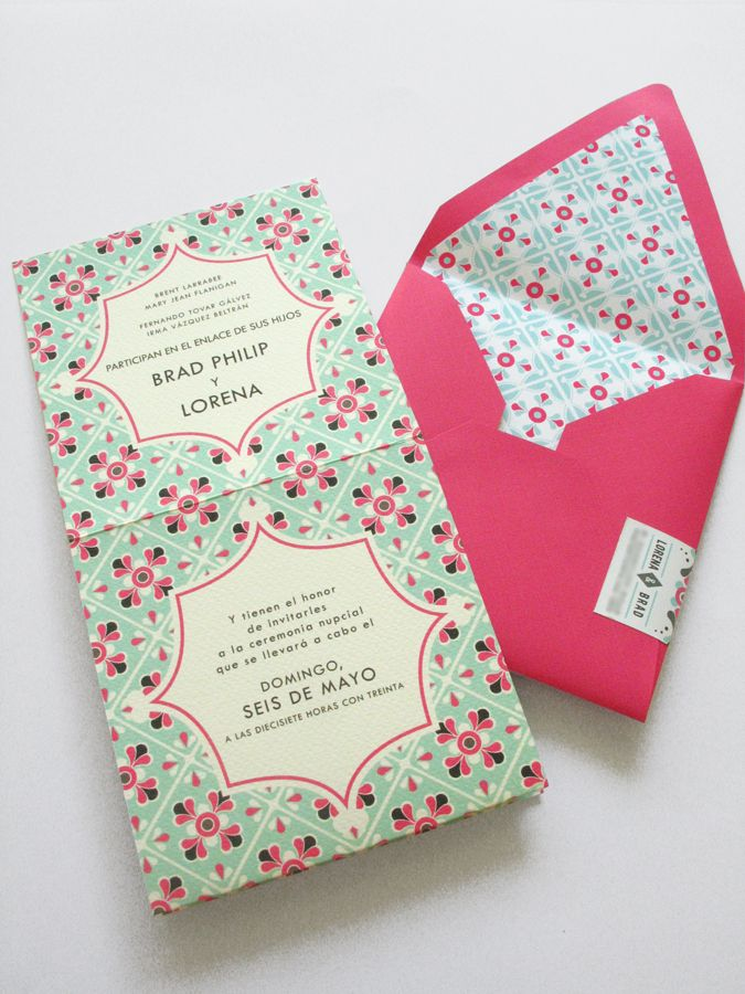 tie the knot wedding invitations etsy%0A mexican tile motif wedding invitation    Lizzy B Loves   Wedding Invitations   u     Celebration Stationery