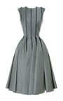 This forest green and navy sleeveless jacquard dress from Thom Browne features a round neckline, exposed seams at the bodice, a v-back, and full pleated skirt.Back zip100% silkLinedImportedPlease note: This item is Final Sale.