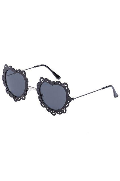ROMWE Black Heart-shaped Frame Sunglasses 19.99
