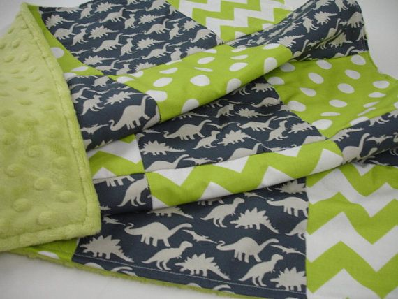 Dinosaur Parade Navy and Lime 3 Piece Baby Crib Bedding Set MADE TO ORDER
