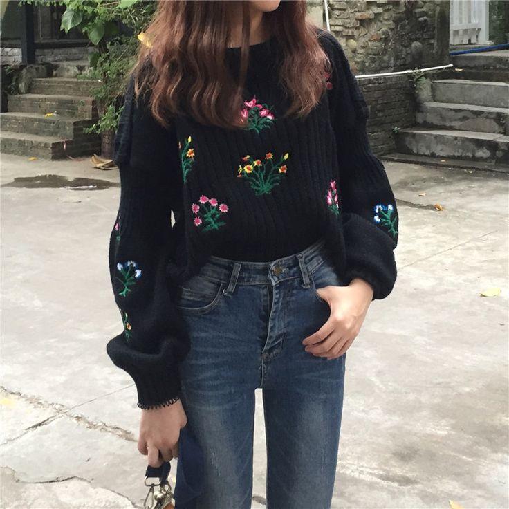 2016 Winter Mode Truien Gezellige Geborduurde Bloem Trui Harajuku Kawaii Tops Pull Femme in One Sizelengte: 41 cm Schouder: 61 cm Buste: 98cm Mouw: 42 cm van truien op AliExpress.com | Alibaba Groep