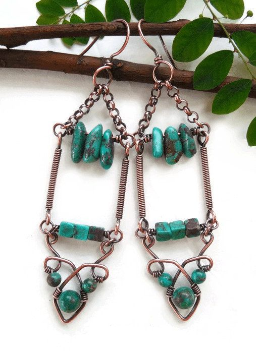 Chandelier earrings  boho earrings  Turquoise by Kissedbyclover  #boho #earrings #bohemian