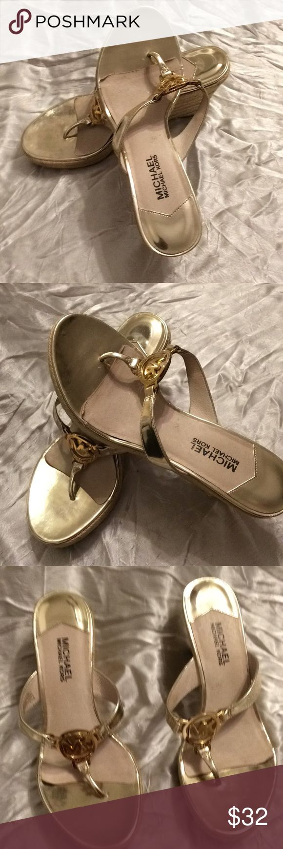 Michael Kors ladies gold wedge heel sandals size 9 Michael Kors ladies gold wedge heel sandals size 9 Vintage KORS Michael Kors Shoes Sandals