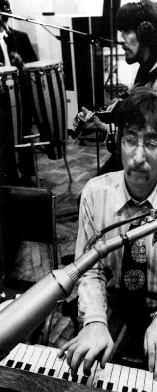 John Lennon, George Harrison and Ringo Starr in the studio during Sgt. Pepper's album recording sessions, 1967.