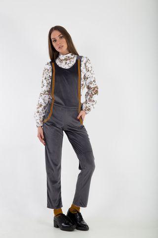 Grey Velvet overalls with suede mustard details front