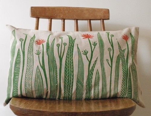 Oh my goodness, I like these lino print cushions!  By Kiran Ravilious