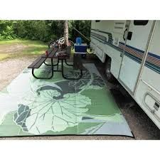 Rugs Outdoor Patio Bbbegonia Blossom Green Grey Ft X Designer Rv Camping