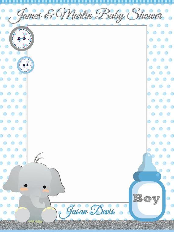 Baby Shower Frame Boy : shower, frame, Shower, Elephant