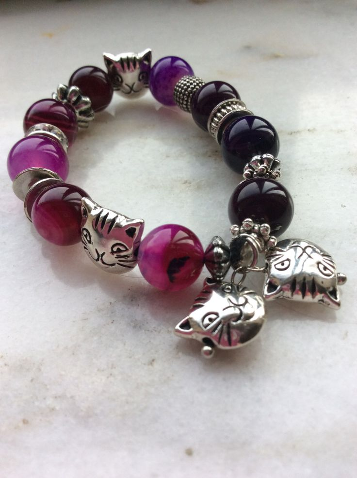 Cat lover bracelet Cat charm VARIETY OF COLOURS Stretch purple natural agate cherry quartz Tibetan Silver Girlfriend Gif Pet Lover Cats by AliceAndBettyDesigns on Etsy