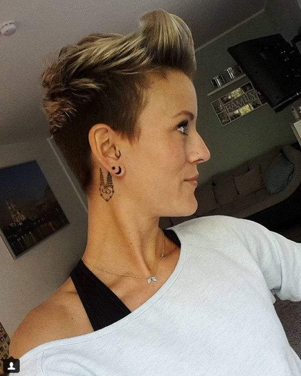 Short Shaved Hairstyle 2018-2019 with Slicked Up Crown