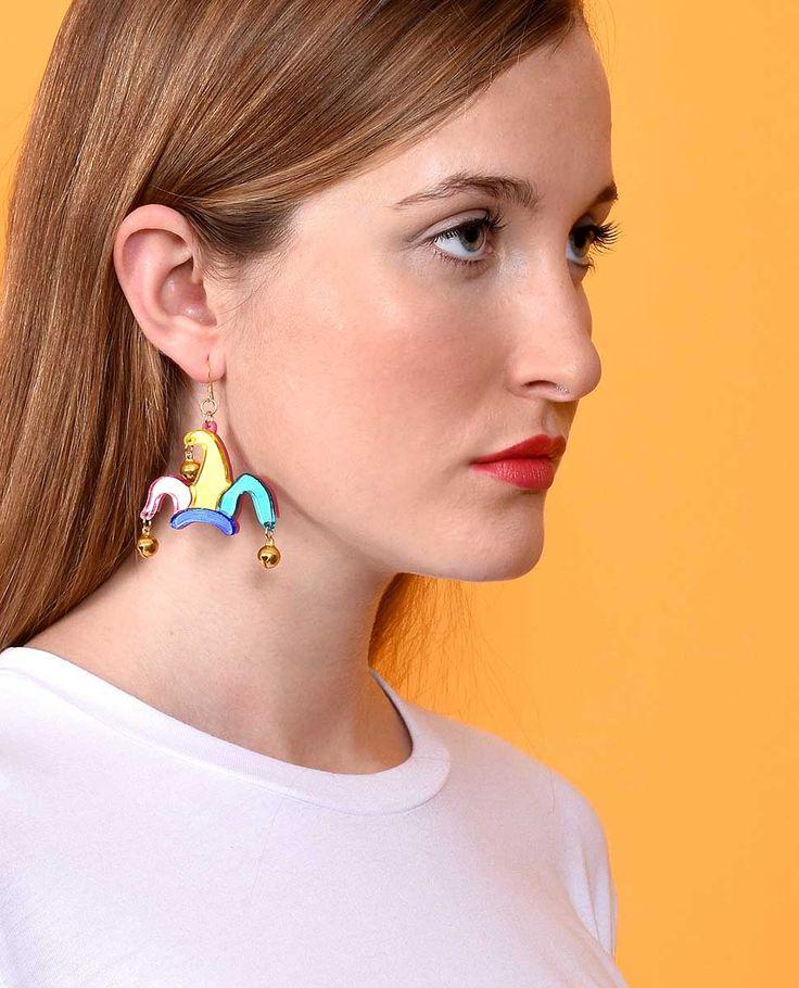 Jester hat earrings. Limited edition plastic jewellery made in Spain by La Vidriola