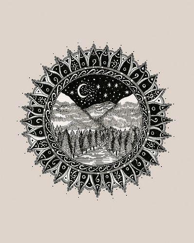 Mandala Mountains Tattoo Commission - thigh tattoo ?