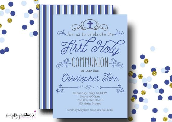 Boys 1st Communion Invite First Communion by simplyprintable