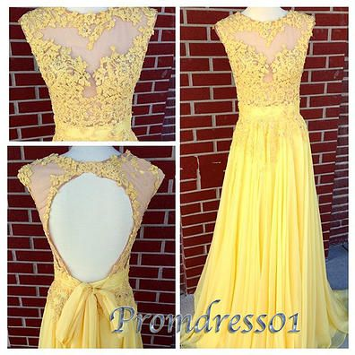 Modest prom dress, yellow lace ball gown, 2016 custom size long occasion dress for teens www.promdress01.c... #promdress #coniefox #2016prom