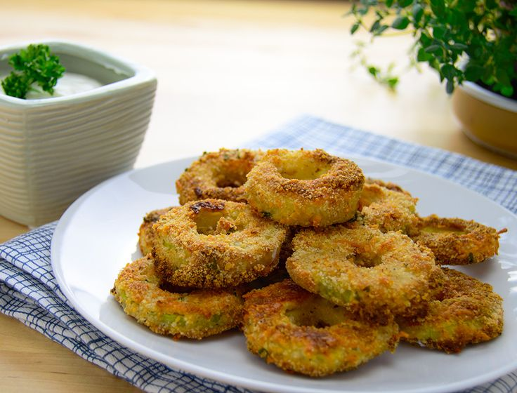 Oven-baked breaded zucchini rings HealthyAperture.com