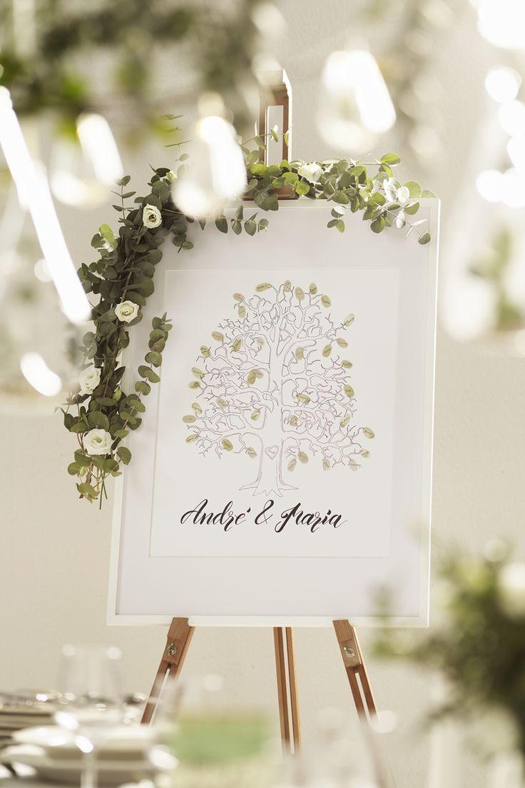 Wedding guest tree www.panduro.se #DIY #green #gold #plants #flowers