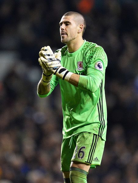 Victor Valdes of Middlesbrough FC reacts during the Premier League match between Tottenham Hotspur and Middlesbrough at White Hart Lane on February 4, 2017 in London, England.