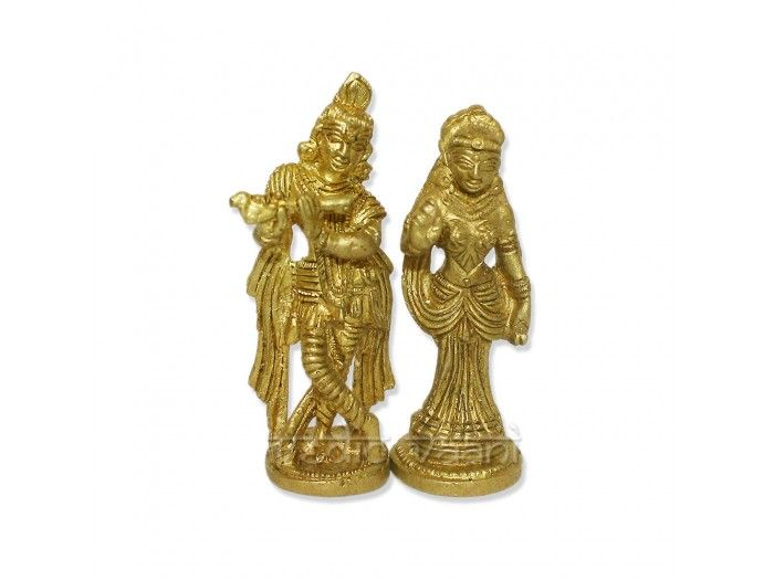 Buy Radhe Krishna idols and Statues in brass Online - VedicVaani.com buy radhe krishna murti, moorti online at best price from india in USA. Hindu deity idols online. This statue has a special coating due to which it does not need any regular polishing. The spiritual exchange of divine love between Radha and Krishna is the display of the internal energy of the Lord and is very confidential and difficult to understand.