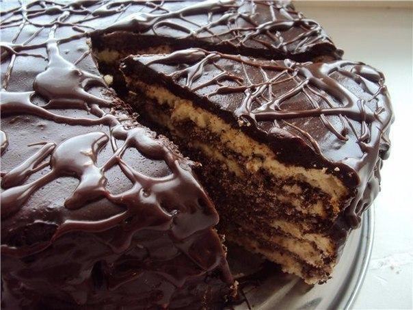 Простой торт Черный принц готовится на кефире!