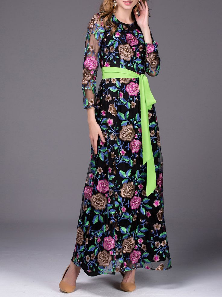 #AdoreWe #StyleWe Designer Maxi Dresses - Designer CICI WANG Black Embroidered Long Sleeve A-line Crew Neck Maxi Dress - AdoreWe.com