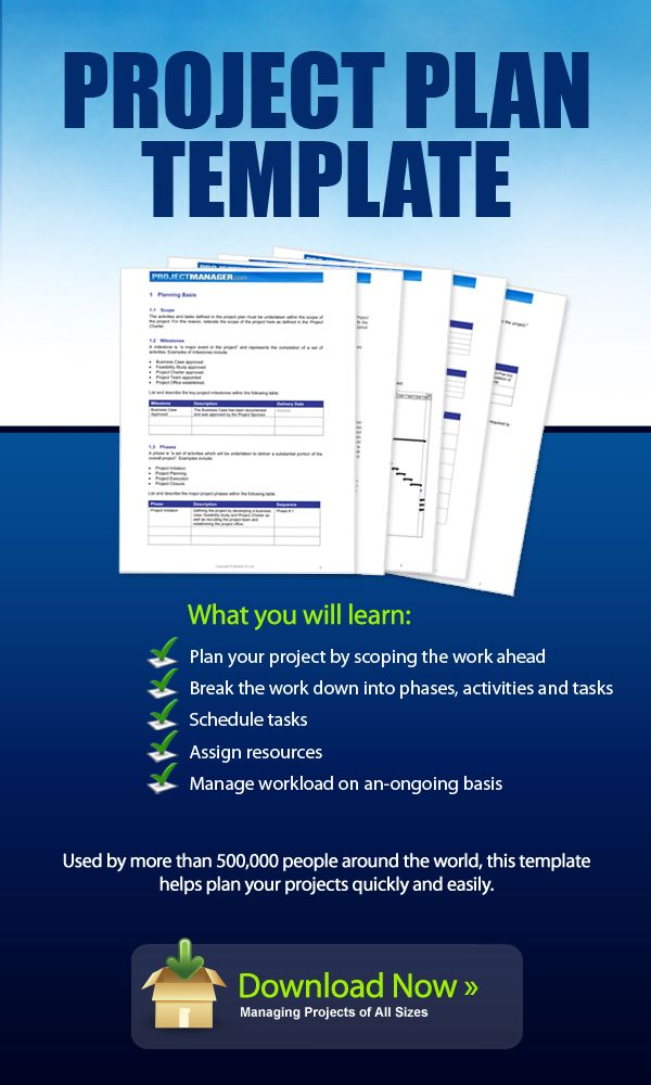 Download this Project Plan template for free. It helps you plan your project by scoping the work ahead and then breaking the work down into phases, activities and tasks. You can then schedule those tasks, assign resources and manage workload on an-ongoing basis. Used by more than 500,000 people around the world, this template helps plan your projects quickly and easily.