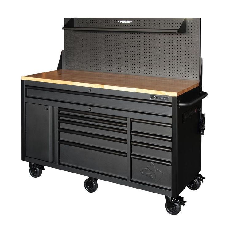 Husky 60 in. 10-Drawer and 1-Door 24 in. D Textured Black Matte Mobile Workbench, Sliding Pegboard and Shelf