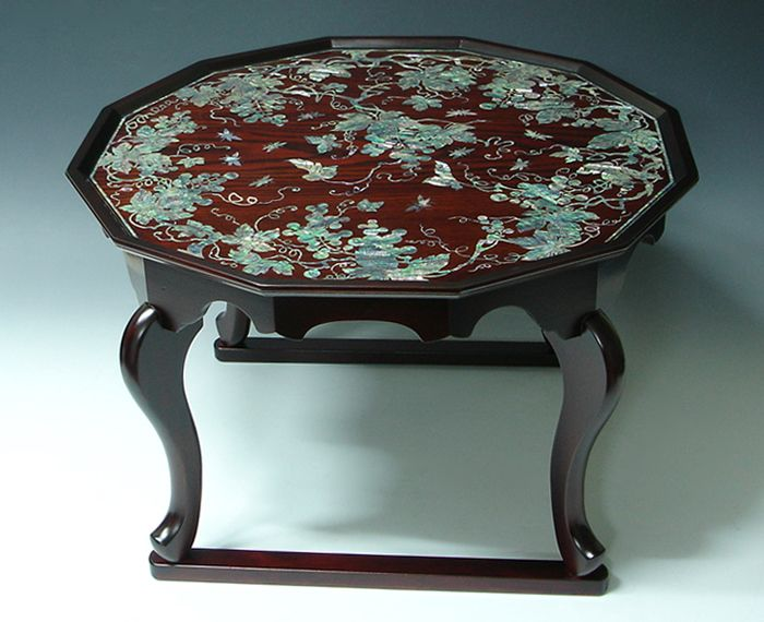 Asian Coffee Table with Lacquer Wooden Tiger Leg Mother of Pearl Grape - Antique Alive