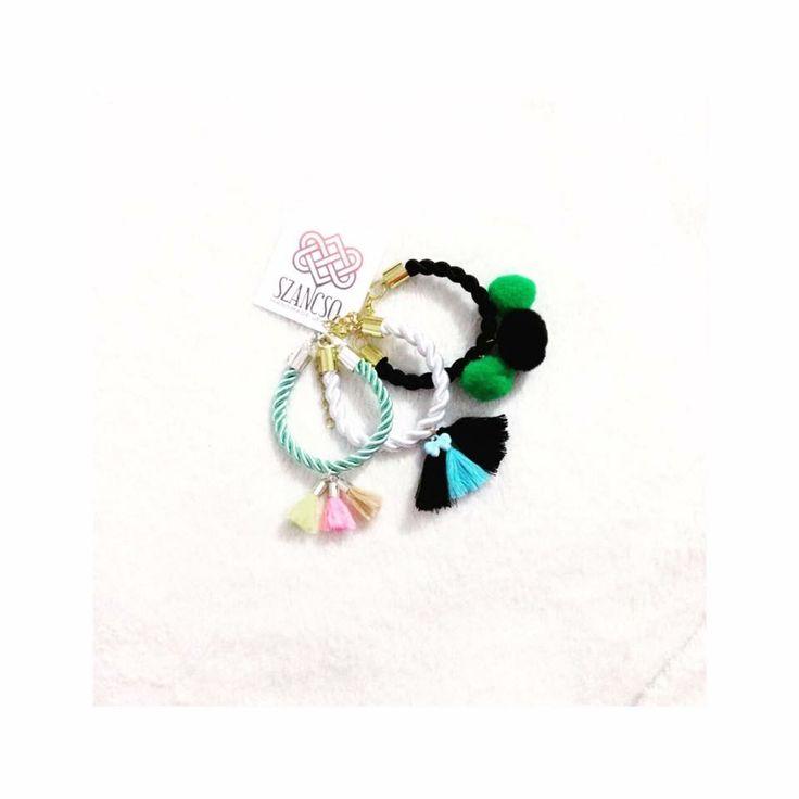 Pompom and tassel love 💝 Handmade rope bracelets