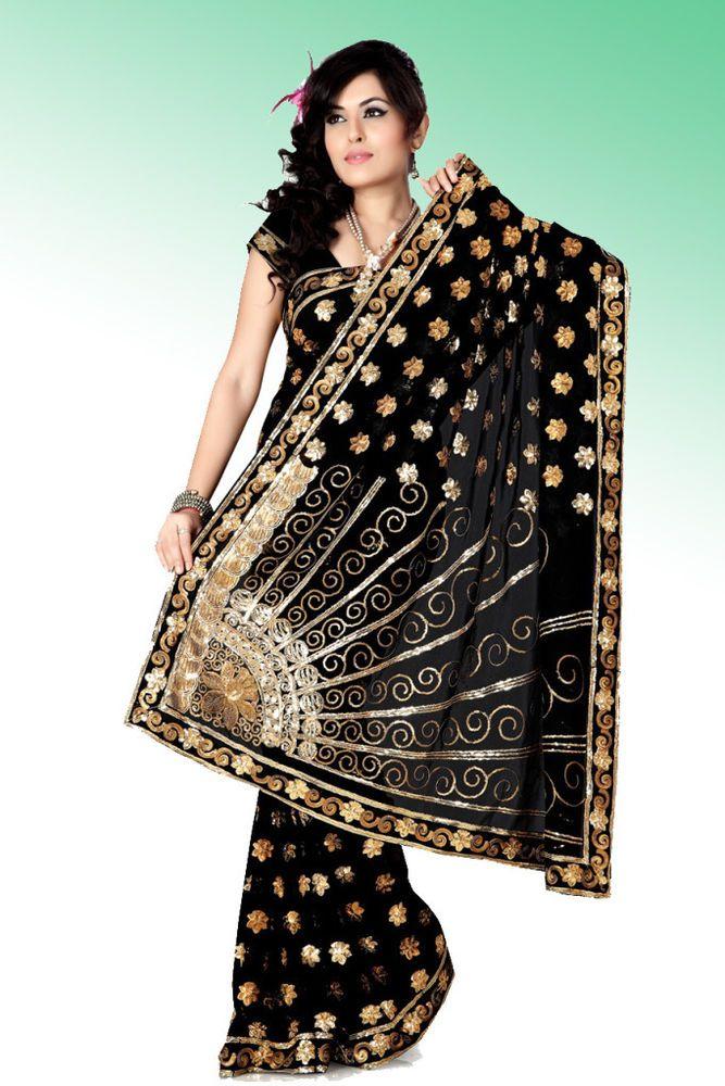 INDIAN BOLLYWOOD DESIGNER BLACK WEDDING PARTY WEAR UNIQUE SAREE/SARI #SareeStudio #SareeSari #WeddingWear