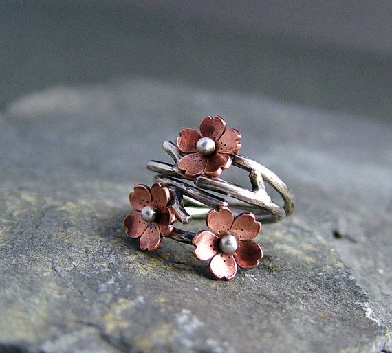 Cherry Blossom Branch Adjustable Ring by HapaGirls