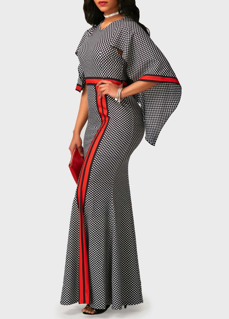V Neck High Waist Printed Maxi Dress on sale only US$34.90 now, buy cheap V Neck High Waist Printed Maxi Dress at liligal.com