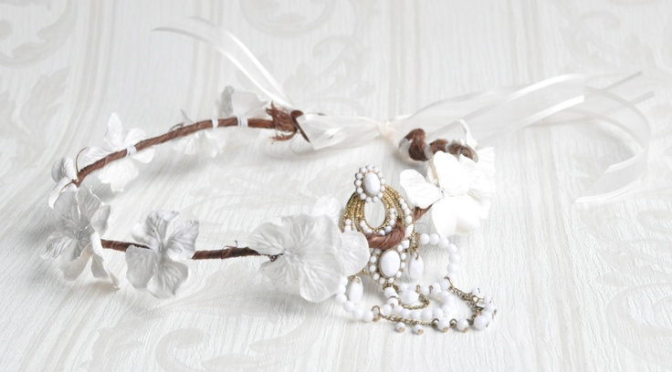 BOHO Halo, White Floral Crown, white hydrangea floral crown, Gold and white floral crown, BOHO chic. $40.00, via Etsy.