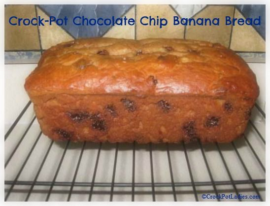 Crock-Pot Chocolate Chip Banana Bread - This recipe will make you a believer of baking in your slow cooker! This is a yummy, moist, delicious recipe for chocolate chip banana bread. | crockpotladies.com