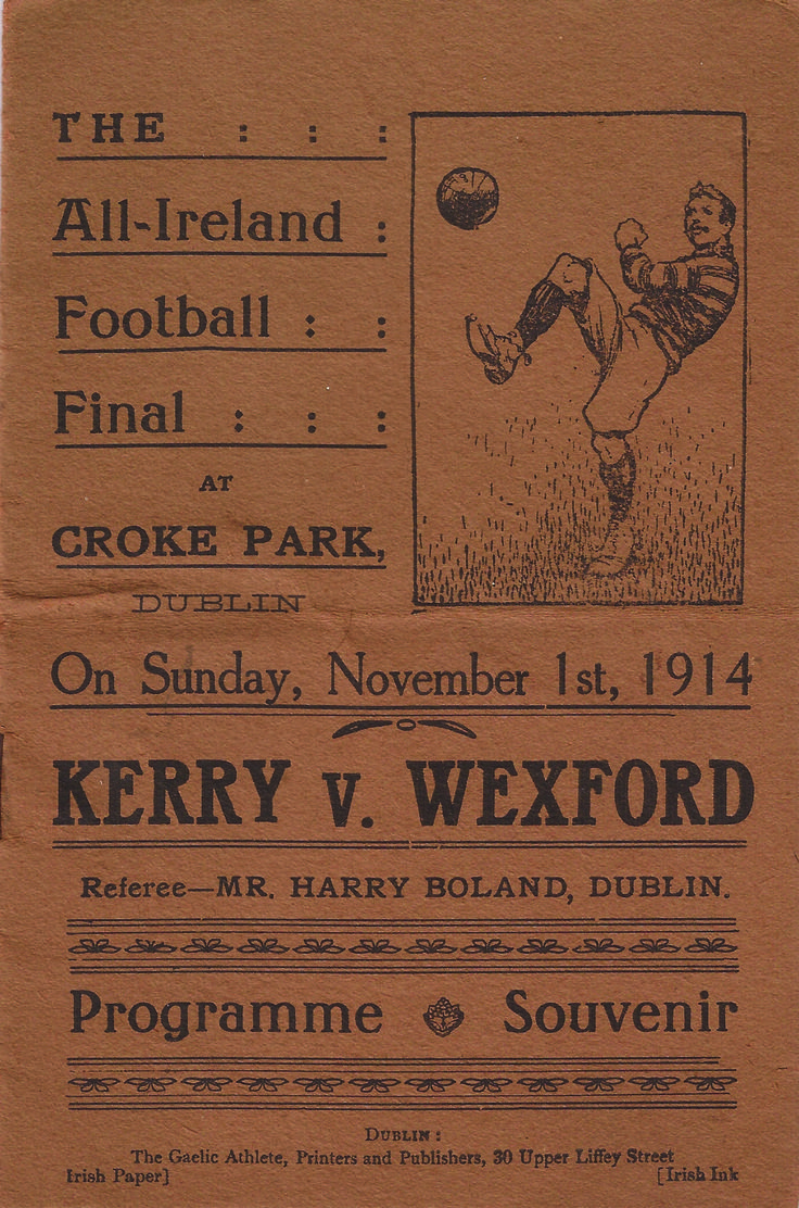 1914 All-Ireland SF final programme - Kerry v Wexford