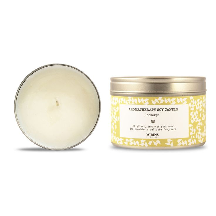 Soy Candle - Recharge - Lemon, Ginger  Enlightens, enhances your mood and provides a delicate fragrance.  Our Recharge aromatherapy line consists of a revitalizing blend of Lemon, Ginger and Lemongrass essential oils.
