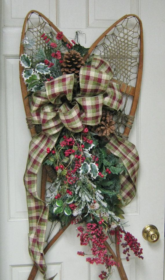 Antique Snowshoe Floral and Holly Wall by Fabricsflowersgalore