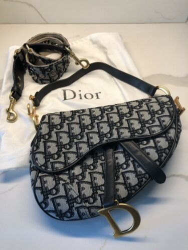 5a816329d9a Christian Dior Saddle Handbag Blue w/ Dior Strap and Dust Bag Hot Style