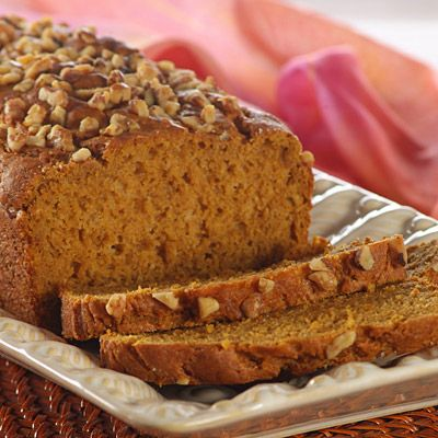 Old-Fashioned Pumpkin Nut Loaf Bread is great for gift giving, too! Evaporated milk and nuts add great flavors to this easy-to-make recipe.