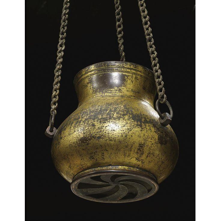A rare Ottoman tombak hanging lamp, Turkey, 16th century