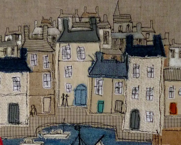 Lovely group of soft tone houses - nice for applique? (Anyone know the maker?)