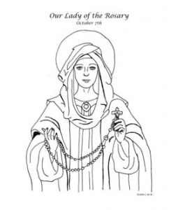 Mary Rosary Coloring Page Coloring Pages