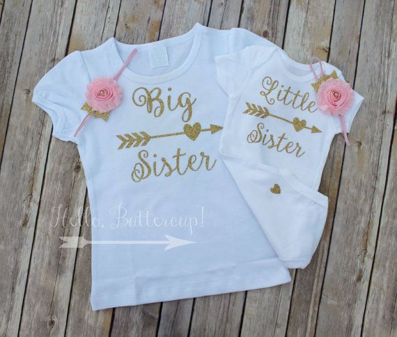 Big Sister Shirt, Little Sister bodysuit & Headband, Matching Sister set, Gold glitter take home outfit, Coming Home outfit, Newborn Onesie